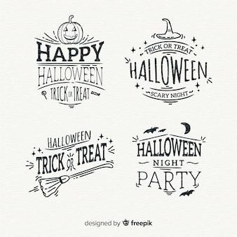 Sammlung von hand gezeichneten halloween-abzeichen