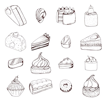 Sammlung von hand gezeichneten kuchen und pralinen