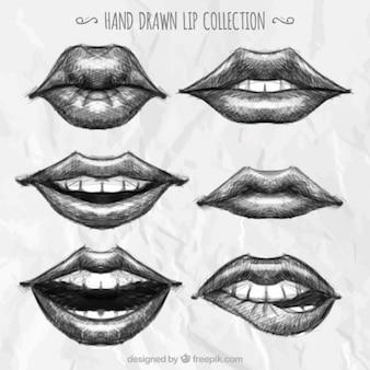 Sammlung von hand gezeichneten lippen