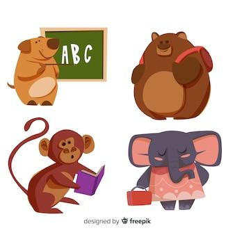 Sammlung von hand gezeichneten tiere zurück in die schule
