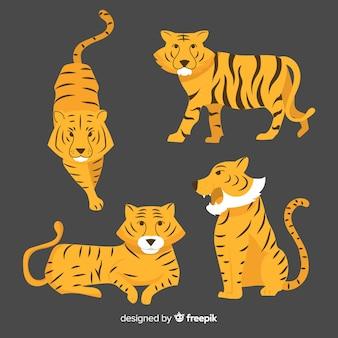 Sammlung von hand gezeichneten tiger