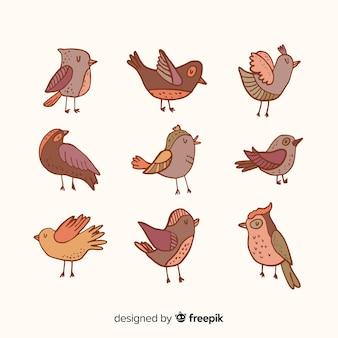 Sammlung von hand gezeichneten vögeln