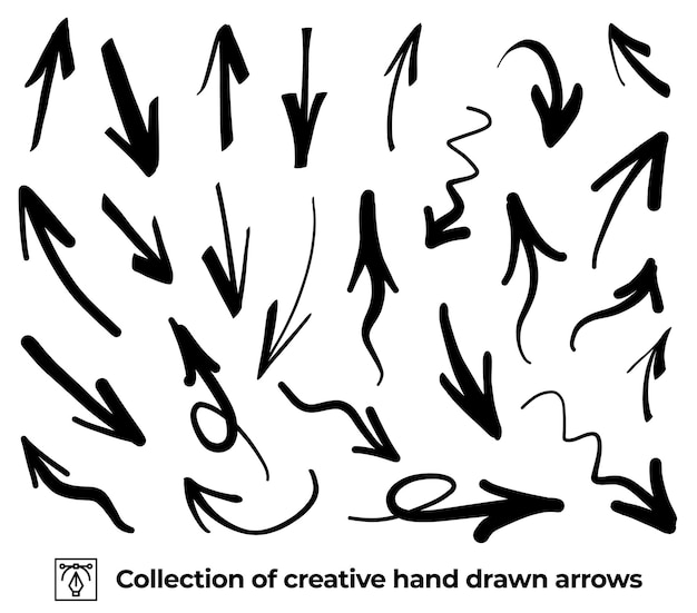Sammlung von handbemalten pfeilen mit pinsel