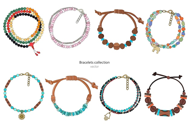Sammlung von handgefertigten armbändern im ethnischen stil. farbabbildung lokalisiert auf einem weißen hintergrund.