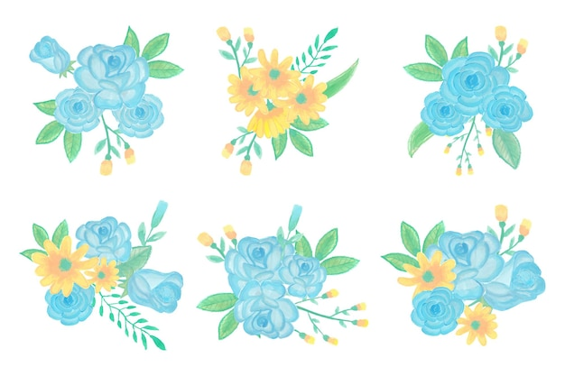 Sammlung von handgemachten aquarellblumenkunststraußhand gezeichnet