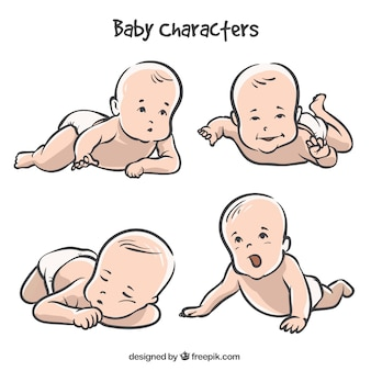 Sammlung von handgezeichneten baby in vier haltungen
