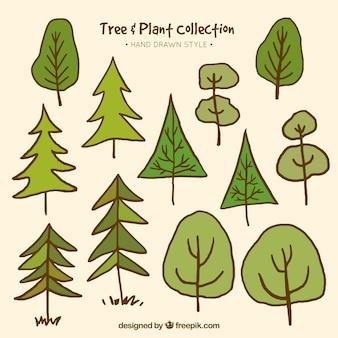 Sammlung von handgezeichneten bäume