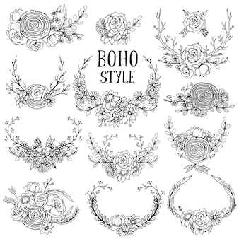Sammlung von handgezeichneten blumenelementen im boho-stil