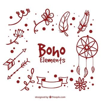 Sammlung von handgezeichneten boho dekorative elemente