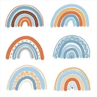 Sammlung von handgezeichneten boho-regenbogen