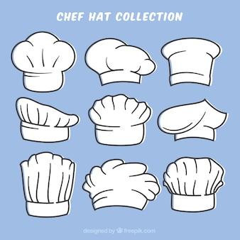 Sammlung von handgezeichneten chefhüten