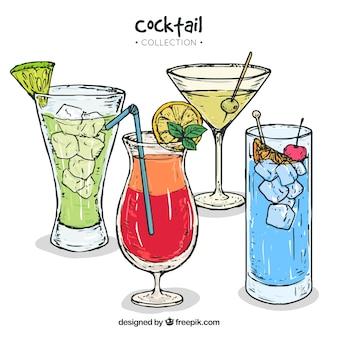 Sammlung von handgezeichneten cocktails