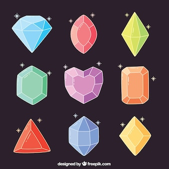 Sammlung von handgezeichneten diamanten