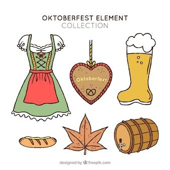 Sammlung von handgezeichneten elementen des oktoberfestes