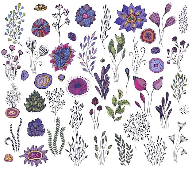 Sammlung von handgezeichneten fantasy-naturelementen, blumen, pflanzen, zweigen. bunte vektor-set.