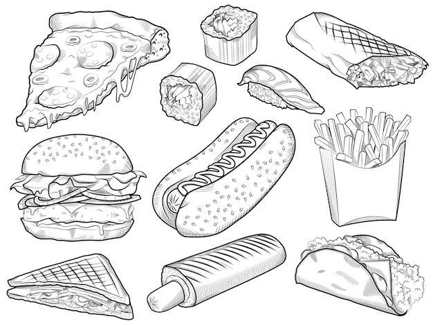Sammlung von handgezeichneten fast-food-lebensmitteln auf whiteboard