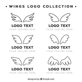 Sammlung von handgezeichneten flügeln logo