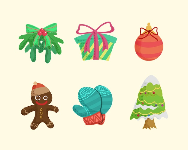 Sammlung von handgezeichneten frohen weihnachtsikonen