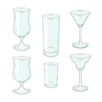 Sammlung von handgezeichneten gläsern für cocktails und getränke. auf weiß isoliert.