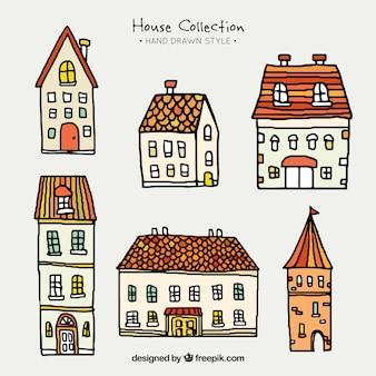 Sammlung von handgezeichneten häuser