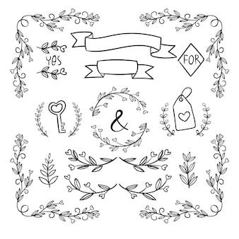 Sammlung von handgezeichneten hochzeitsornamenten