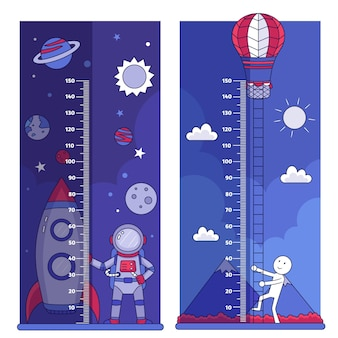 Sammlung von handgezeichneten höhenmessern für kinder illustriert