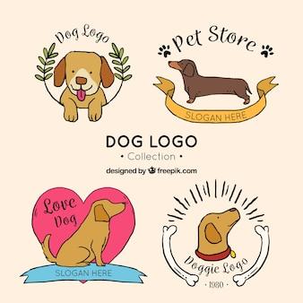 Sammlung von handgezeichneten hund logos