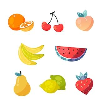 Sammlung von handgezeichneten köstlichen früchten