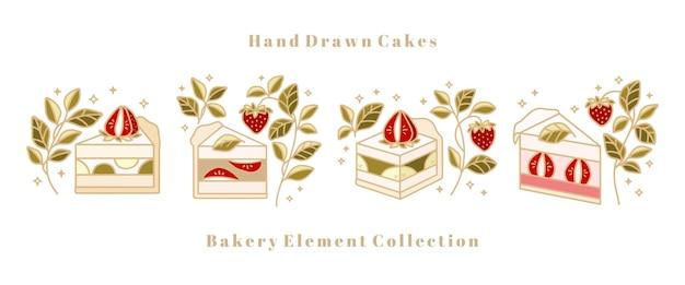 Sammlung von handgezeichneten kuchen-, gebäck-, bäckerei-logoelementen mit grünem teeblatt und erdbeeren