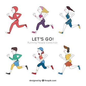 Sammlung von handgezeichneten läufern