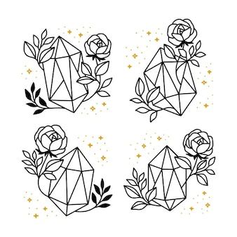 Sammlung von handgezeichneten magischen elementen mit kristall, blume, sternen u. blattzweig