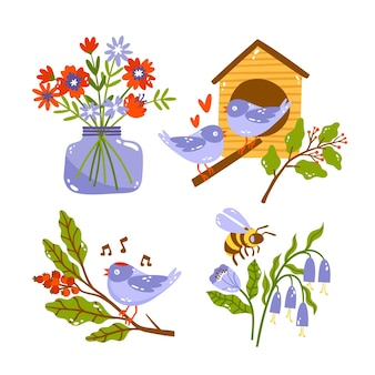Sammlung von handgezeichneten naturaufklebern