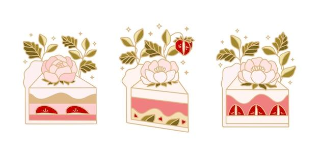 Sammlung von handgezeichneten niedlichen kuchen mit pfingstrosenblumen