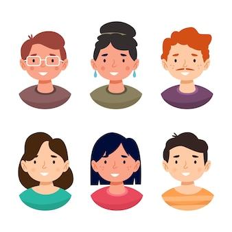 Sammlung von handgezeichneten profilsymbolen