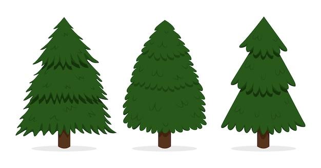 Sammlung von handgezeichneten weihnachtsbäumen