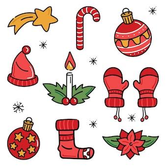 Sammlung von handgezeichneten weihnachtselementen
