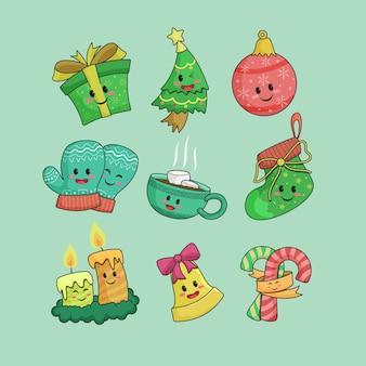 Sammlung von handgezeichneten weihnachtselementverzierungen