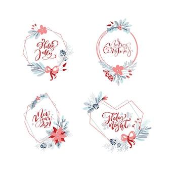 Sammlung von handgezeichneten weihnachtskränzen mit weihnachtstext. tannenzweige, rote beeren, blätter.