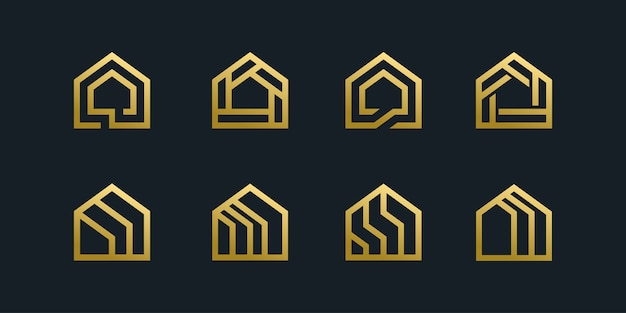 Sammlung von hauslogo-symbolbündelschablone