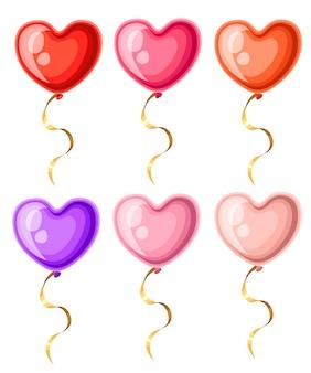 Sammlung von herzförmigen luftballons mit goldenen farbbändern verschiedener farben ballonillustration auf weißer hintergrundwebseite und mobiler app