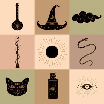 Sammlung von hexerei-elementen und ikonen-illustration in vektor