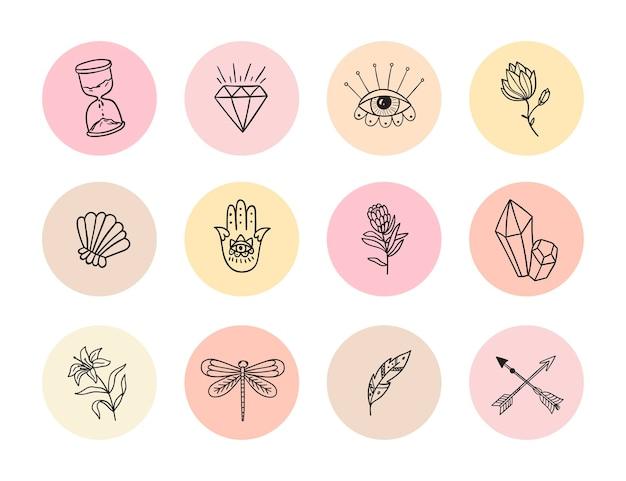 Sammlung von highlights-geschichten-symbol für soziale medien runde vektorkomposition mit blumen