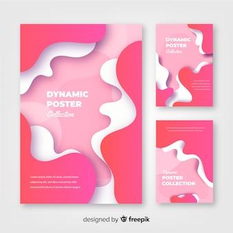 Sammlung von hintergründen mit dynamischen formen in bewegung