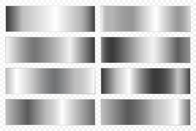 Sammlung von hintergründen mit einem metallischen farbverlauf. brillante platten mit silberchrom-effekt.