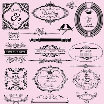 Sammlung von hochzeitseinladungen kalligraphischer rahmen und elemente