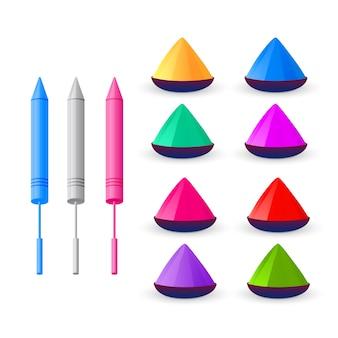 Sammlung von holi farben elemente