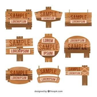 Sammlung von holz zeichen in flachen design
