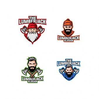 Sammlung von holzfäller kopf charakter logo icon design cartoon