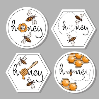 Sammlung von honigetiketten