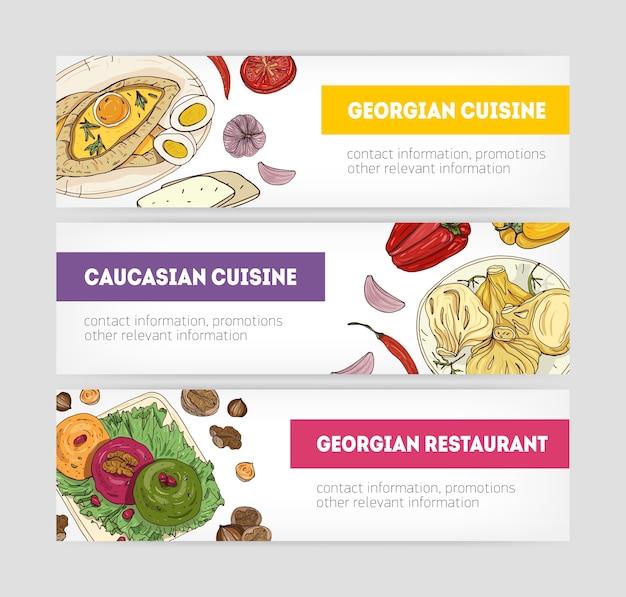 Sammlung von horizontalen web-banner-vorlagen mit köstlichen mahlzeiten der georgischen küche, die auf tellern liegen